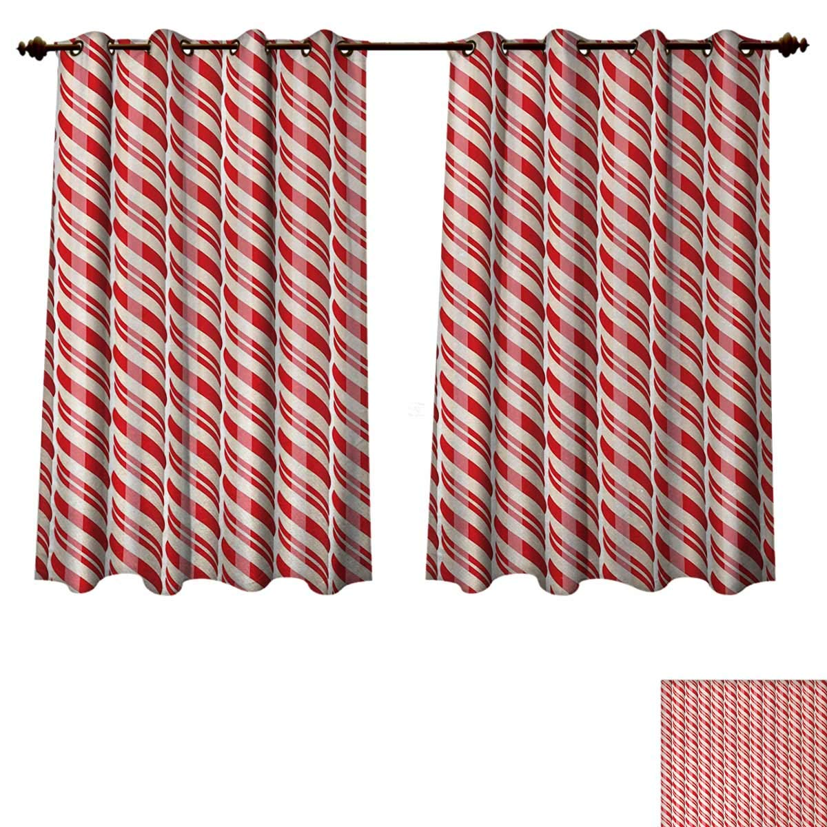 Anzhouqux Candy Cane Blackout Curtains Panels for Bedroom Red Christmas Candies Pattern with Diagonal Stripes Traditional Winter Sweets Decorative Curtains for Living Room Red Cream W55 x L72 inch