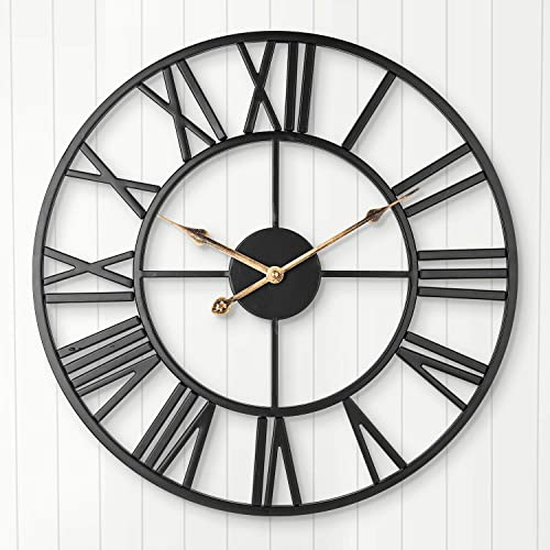 Decor Wall Clock, Retro Industrial Art Metal Clock with Roman Numerals, Indoor Silent Battery Operated Clock for Home, Living Room, Bedroom, Office, Kitchen, Den – 18 Inch