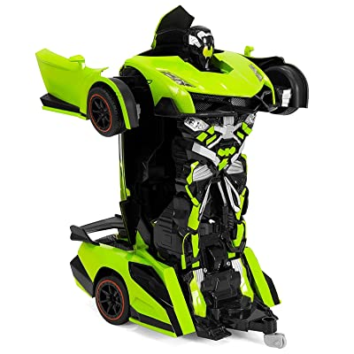 Park10 Toys Transforming RC Remote Control Robot Drifting Sports Race Car Toy w/ Sounds, LED Lights (Green): Toys & Games