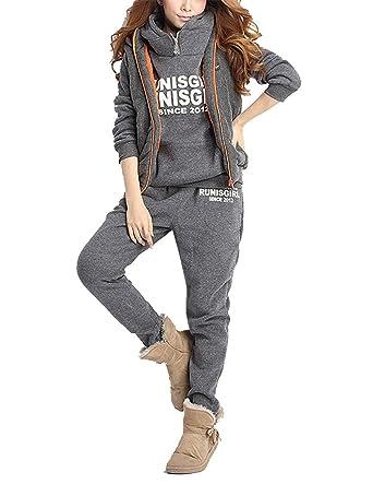 BYD Femmes Survêtement Suit Chaud Manches Longues Pull à Capuche + Gilet +  Pantalon 3Pcs Lettres d440df57c03