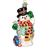 Old World Christmas Candy Cane Snowman Glass Blown Ornament