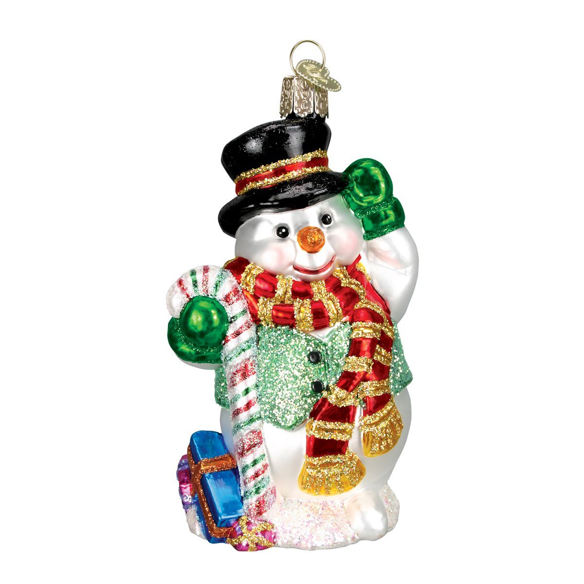 Old World Christmas Candy Cane Snowman Glass Blown Ornament 24068