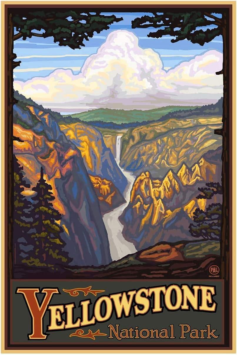YuFeng Art Inn Modern Wall Poster Art Print Oil Painting on Canvas Home Decor Wall Decoration Canvas Art Yellowstone National Park Yellowstone Falls Giclee Art Print Poster (Unframed-No Framed,20x30inch)