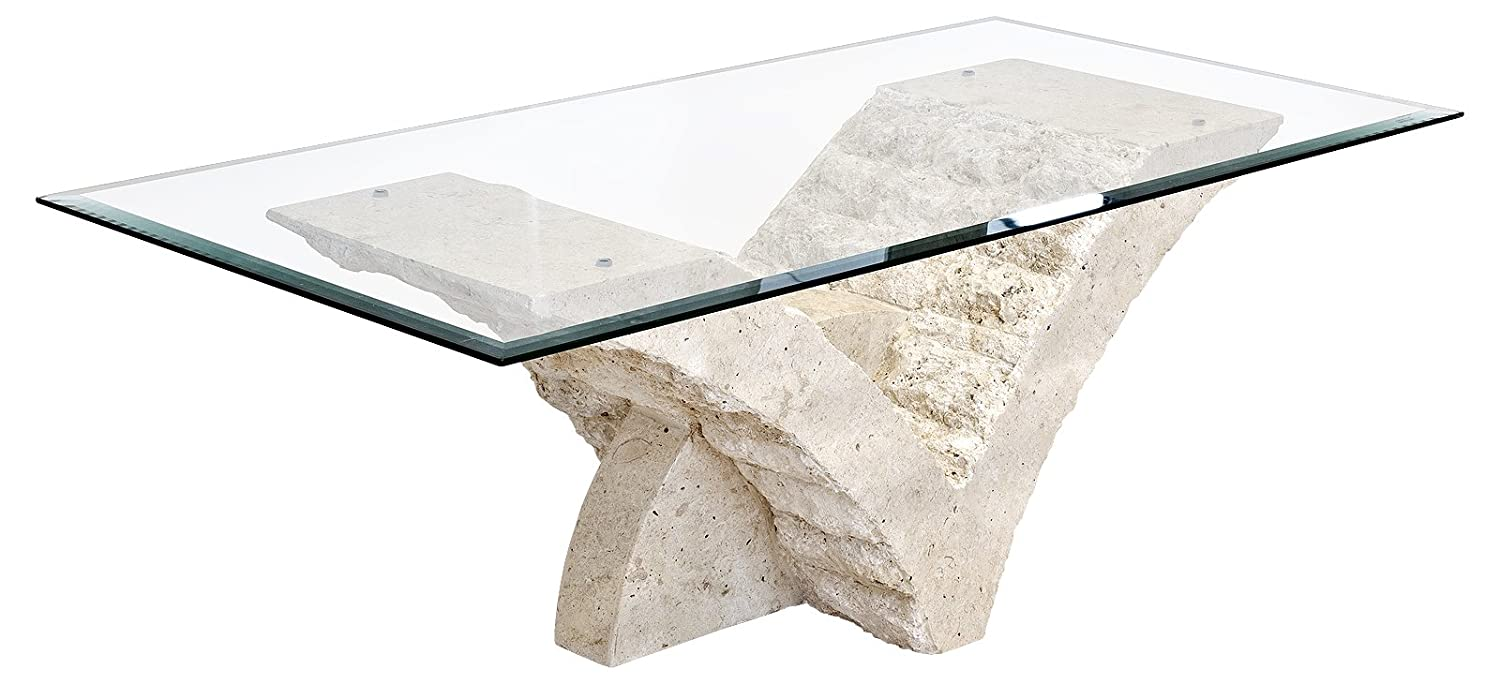 Seagull Coffee Table With Fine Mactan Stone Base And Tempered