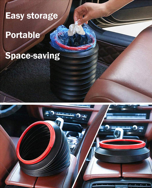 Leadvan Cubo de Basura del Coche Port/átil Cubo de Pesca Port/átil Telesc/ópico Plegable Multifuncional de Viaje Barril Organizador Impermeable 4L Bote de Basura Plegable