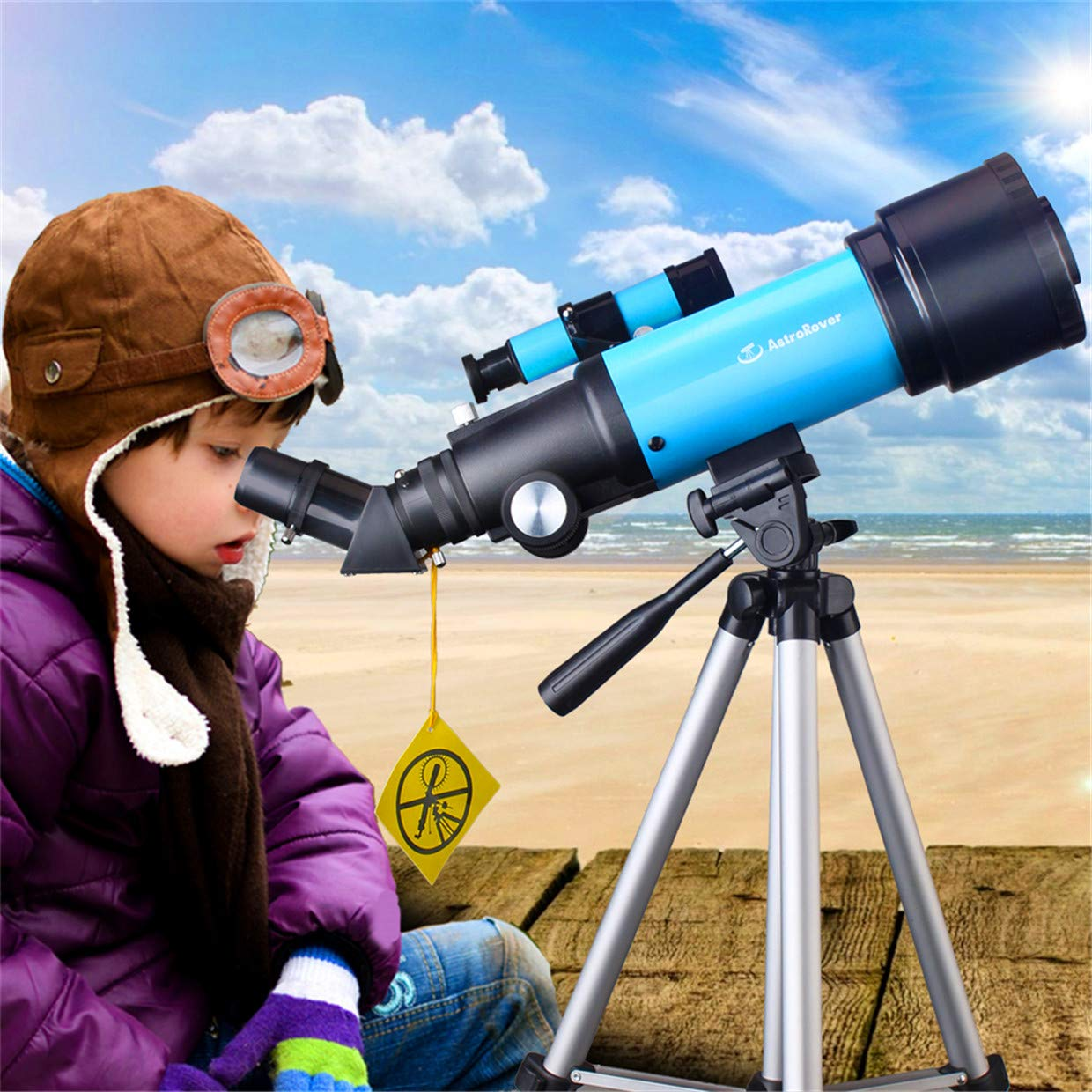 JingleStar Telescope for Kids Beginners, 70mm Astronomical Refracter Telescope - Travel Scope with Tripod & Finder Scope - Perfect for Children Educational and Gift (Blue) by JingleStar