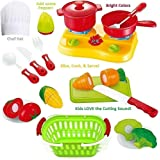 FUNERICA Cutting Play Fruit Toys Set - Includes Quality Plastic Toy Vegetables Play Food - with Knife - Mini Kitchen Kids Dishes- Toy Grocery Basket & Child Chef Hat