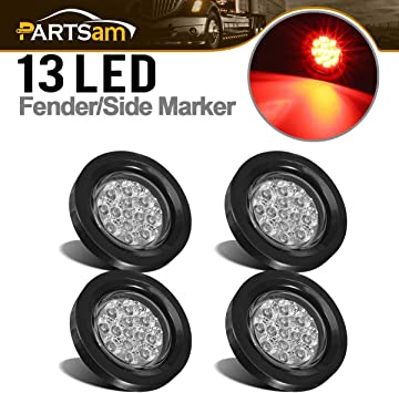 Air Breather Bar Lights Partsam 10Pcs 2.5 Inch Round Led and Side Marker Lights Red 13 Diodes w Reflectors Truck RV Waterproof 2.5 Round Led Trailer Lights 2.5 Round Led Marker Lights