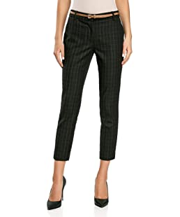 oodji Collection Women's Checkered Trousers in Heavyweight Fabric, Grey, UK 6 / EU 36 / XS