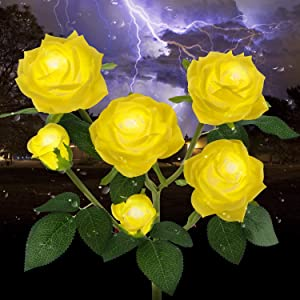 Outdoor Solar Garden Stake Lights,Upgraded LED Solar Powered Light with 6 Rose Flowers, Waterproof Solar Decorative Lights for Patio Pathway Courtyard Garden Lawn(Yellow)