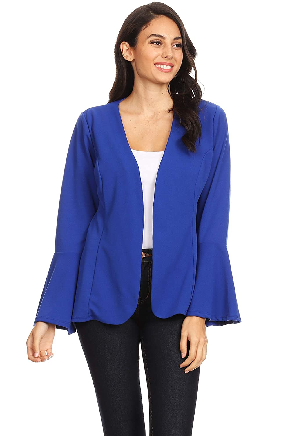 Women's Casual Solid Loose Bell Sleeve Draped Front Blazer Cardigan/Made in USA