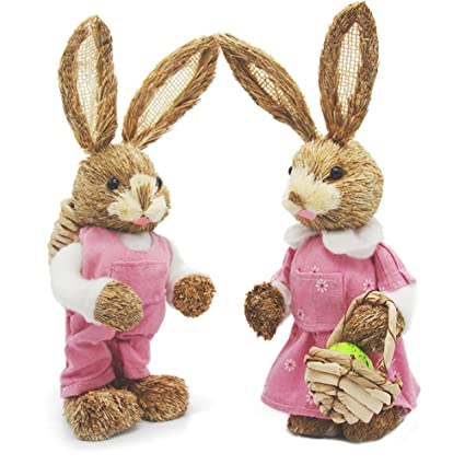 Amazon soobuy easter bunny decorations 13 natural sisal soobuy easter bunny decorations 13quot natural sisal rabbits with easter basket egg and negle Image collections