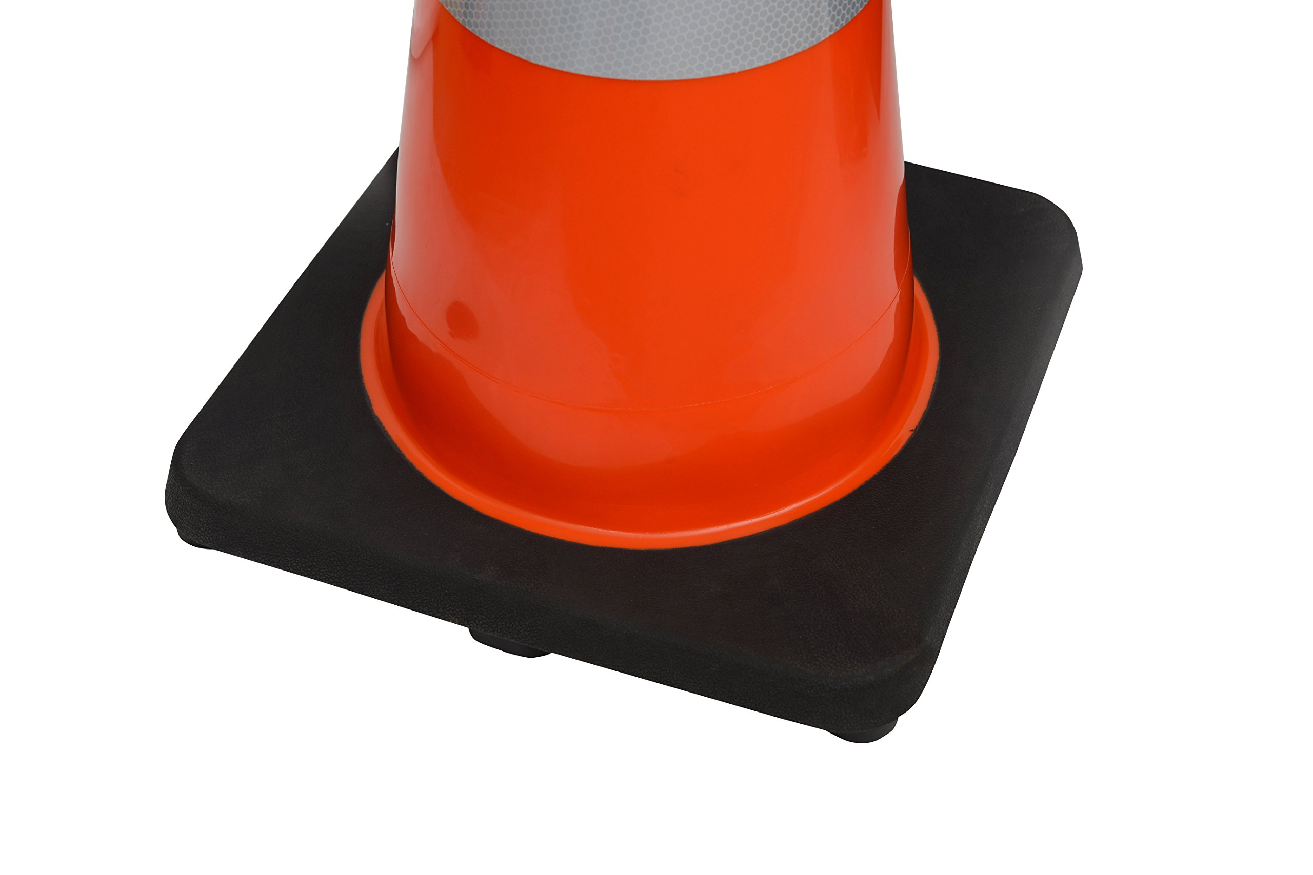(6 Cones) CJ Safety 36'' Orange PVC Traffic Safety Cones with Black Base & 6'' + 4'' Reflective Collars (Set of 6) by CJ Safety