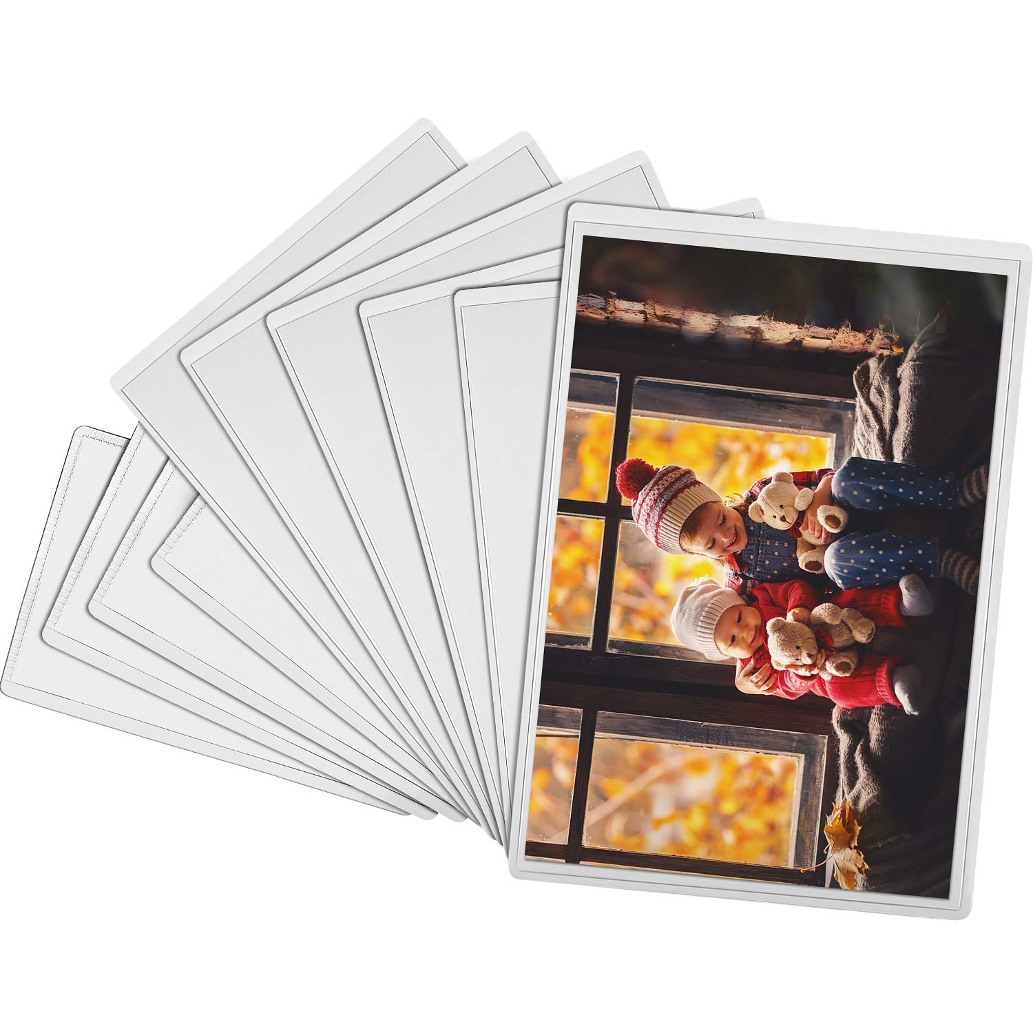 Tatuo 10 Pieces Magnetic Photo Pocket Picture Frame, Clear Photo Pocket Sleeve for Fridge, Locker, Office Cabinet