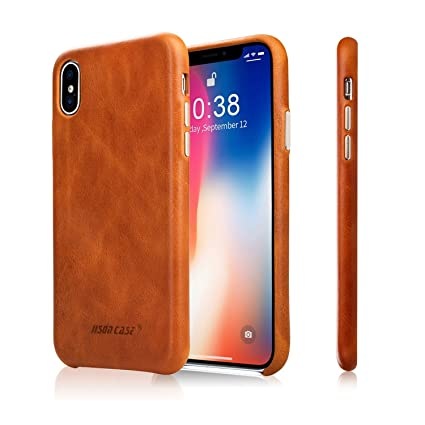 the best attitude e079a b6bdd iPhone X Leather Case, Jisoncase for Apple iPhone X Genuine Leather Case  iPhone 10 Back Cover Grip Shell Cases with Metallic Buttons, Brown ...