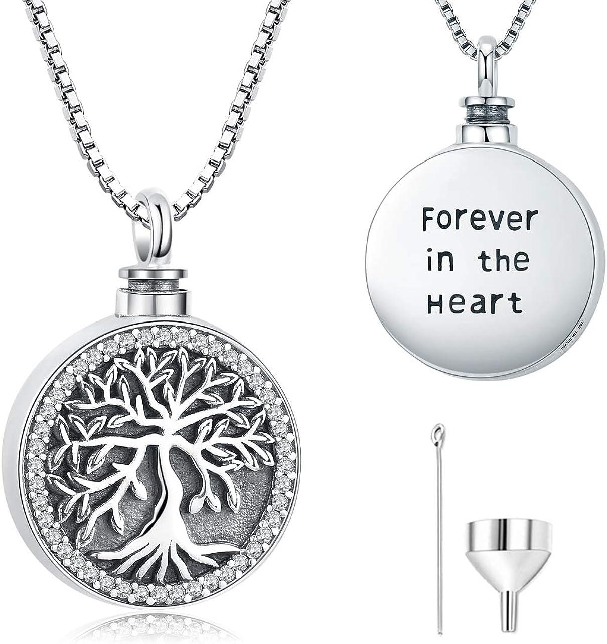 Collar de urna para cenizas, árbol de la vida de plata de ley 925, joyería de cremación conmemorativa para mujer