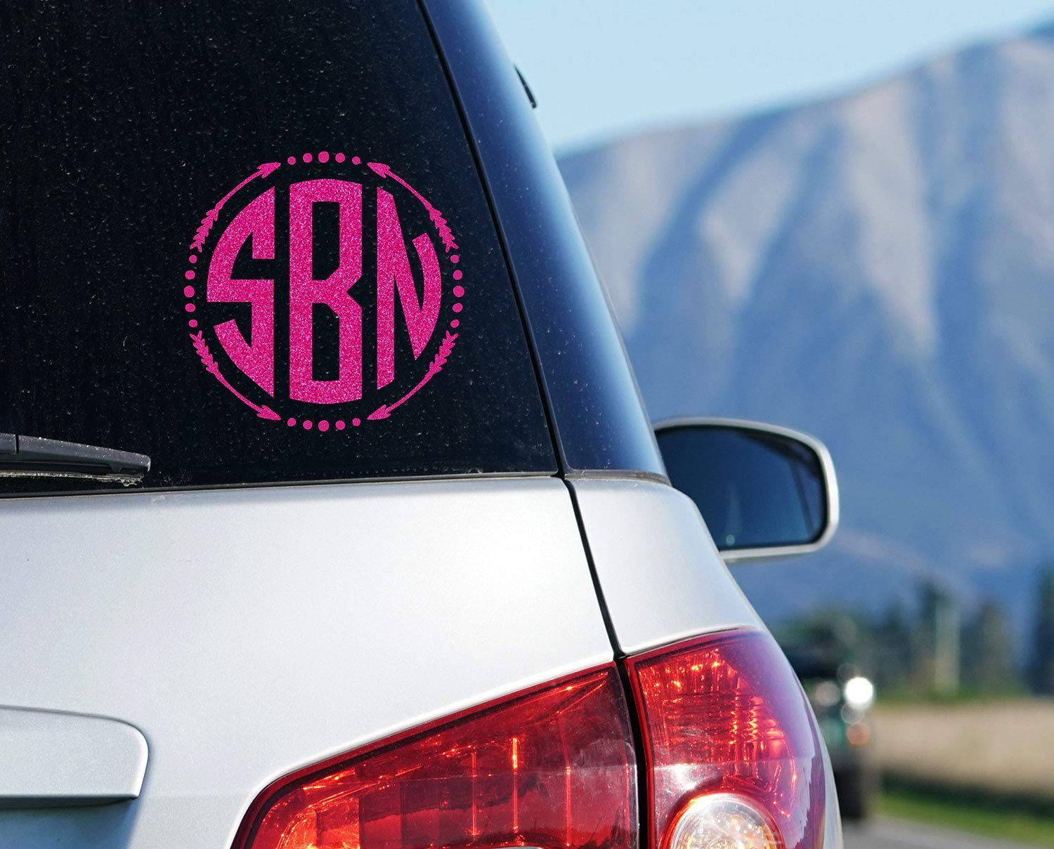Arrow Monogram Car Decal Your Choice of Size and Color Circle Monogram Window Sticker