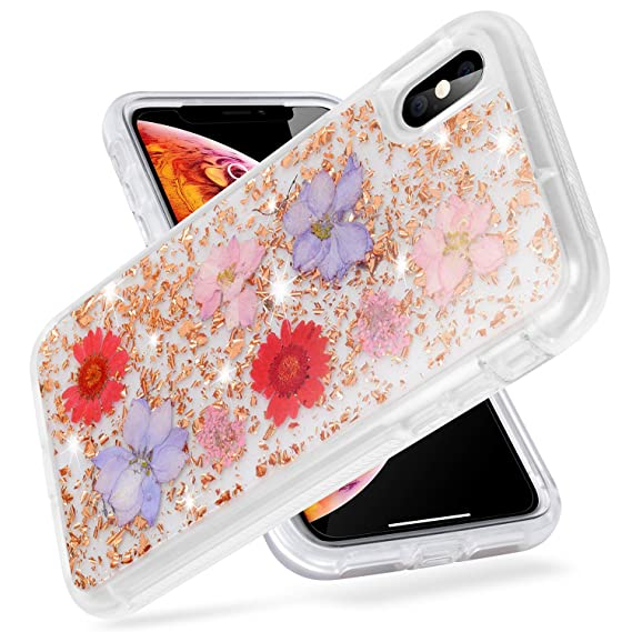 Iphone Xs Max Case Watache Dried Real Pressed Flowers Floral Clear Crystal Heavy Duty Fully Body Protection Soft Tpu Back Hard Pc Case For Girl