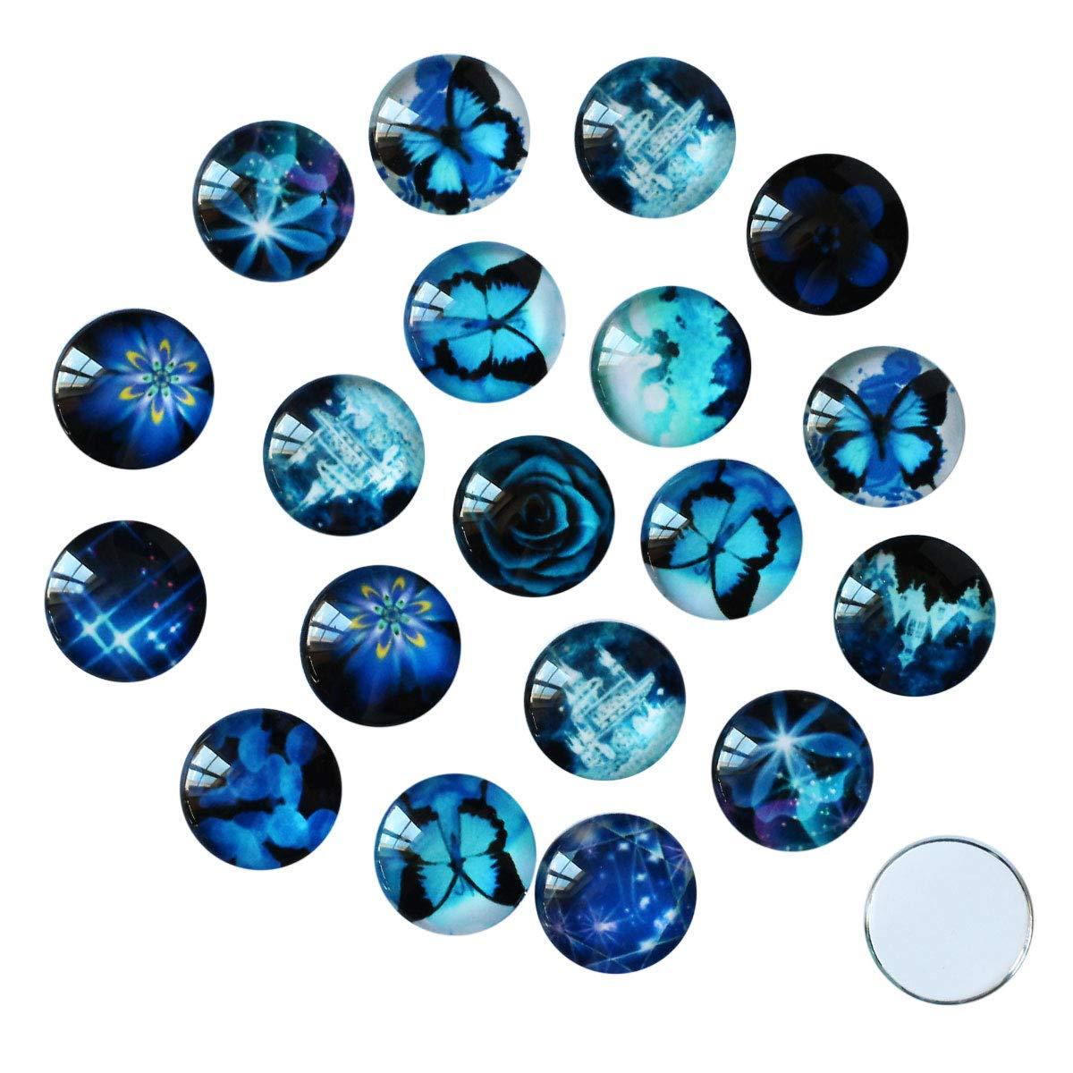 Mix Glas Klebesteine 14mm Cabochon mit Motiven in blau