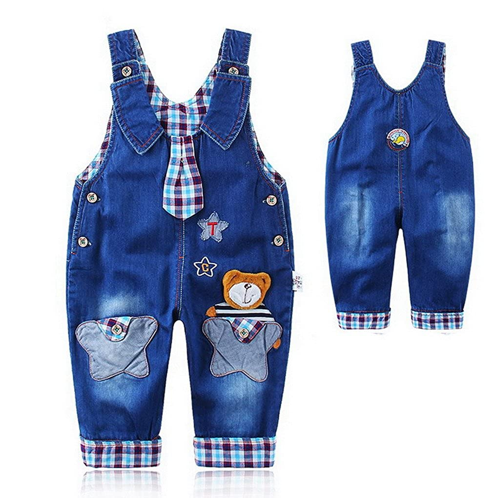Boys Girls Bib Pants Dungaress Jeans Bear Animal Pattern Trousers