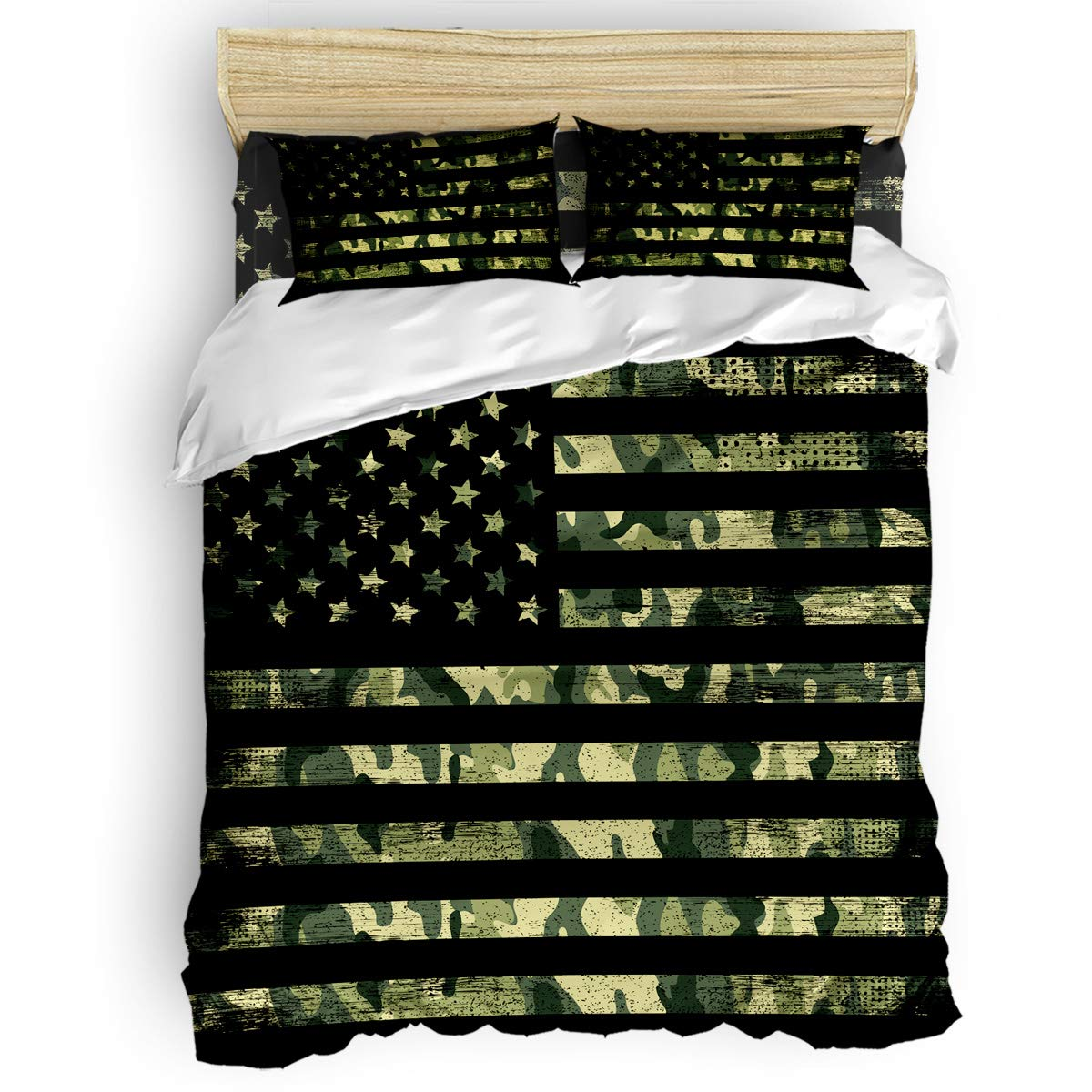 LOVE HOME DAY Camouflage American Flag Bedding Sets Full Size Ultra Soft 4 Pieces Duvet Cover Set with Bed Decorative 2 Pillow Shams Bedspread Bed Sheets Patriotic Stars and Stripes