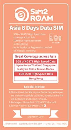 Asia Pacific 15 Days Unlimited Prepaid Data SIM Card, Japan, China,  Hongkong, US, Australia, New Zealand, Macao, Taiwan, Singapore, Malaysia,  Korea,