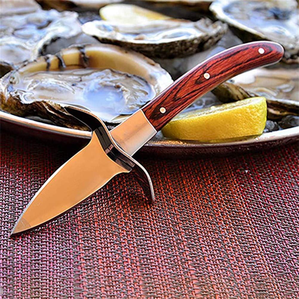 Akemaio Coltello da ostrica con Manico in Legno Apri ostriche in Acciaio Inossidabile Pettine sgusciatore sgusciatrice per Frutti di Mare ostrica