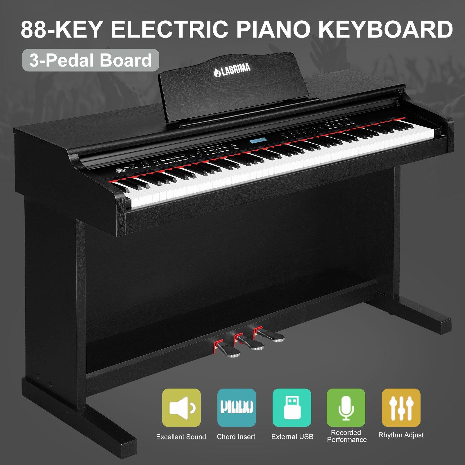 LAGRIMA 88 Key Electric Music Digital LCD Piano Keyboard W/3 Pedal Board (Black)