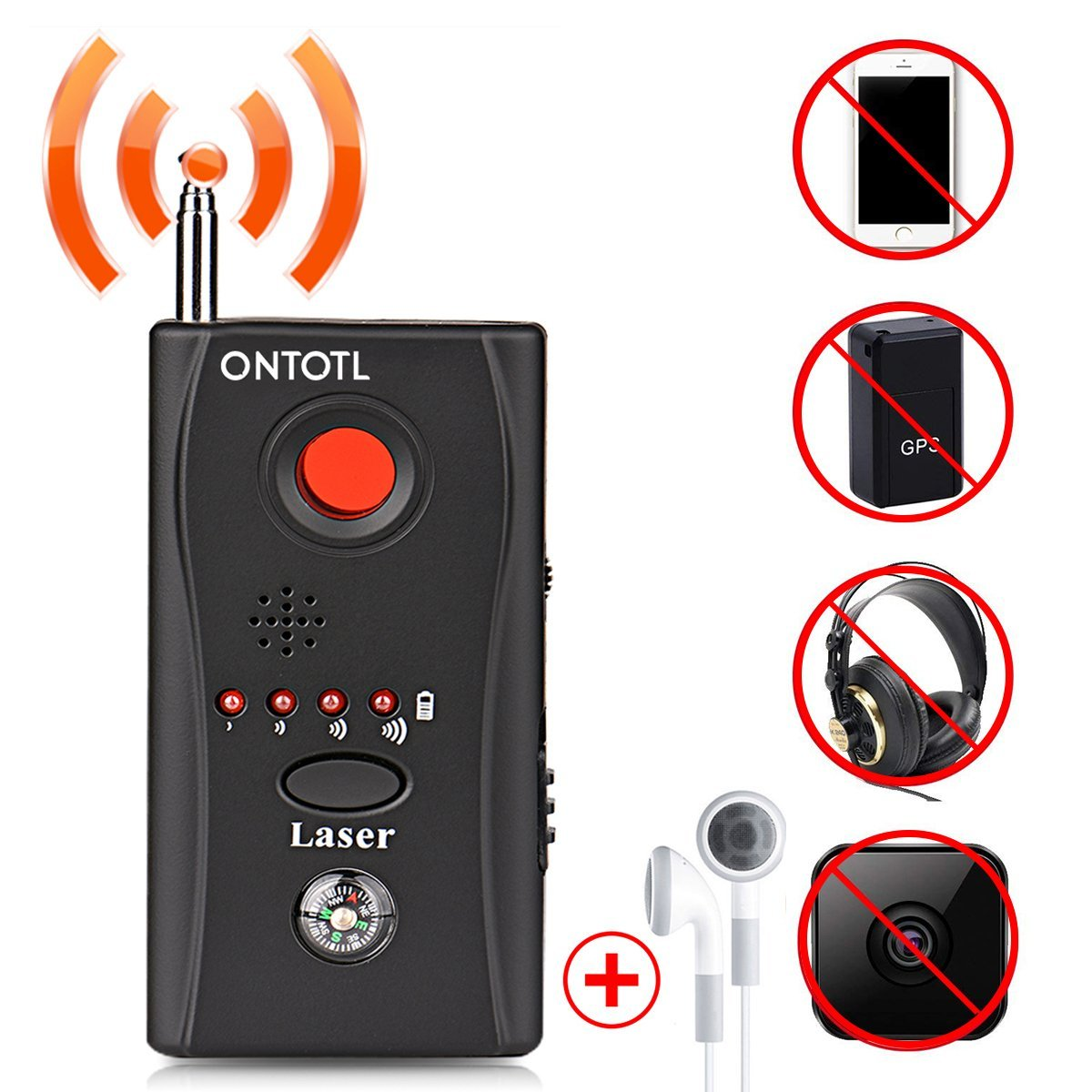 Anti-spy Camera Bug RF Detector,ONTOTL Wireless Bug Detector Hidden Camera Lens Detector Radio Wave Signal Detect Full-range GSM Device Finder,Camera Detector for Anti Eavesdropping/Candid/GPS Tracker