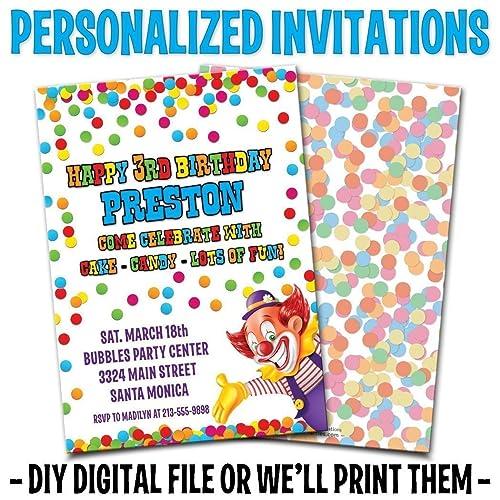 Custom Personalized Clown Boys Birthday Invitations