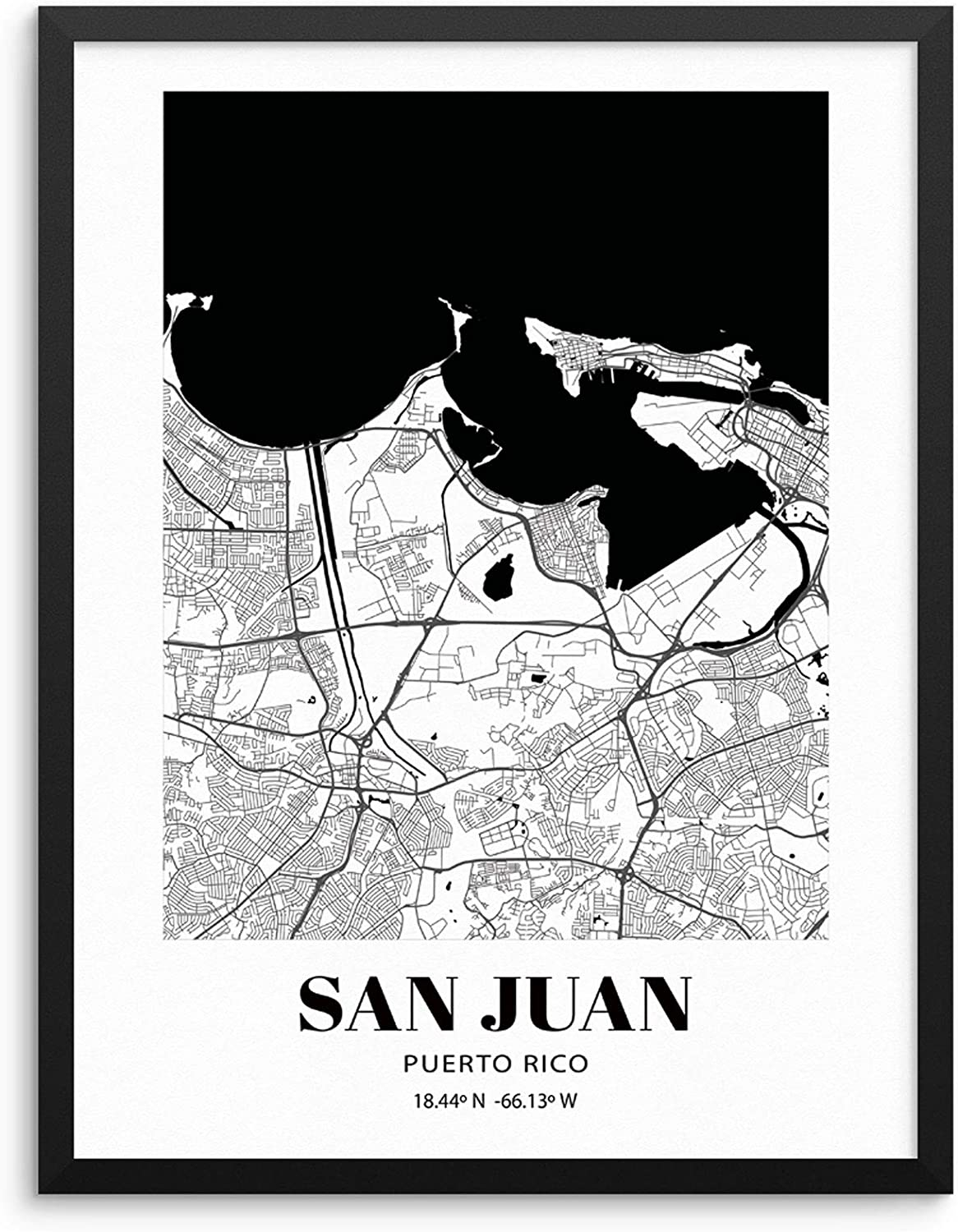 """Puerto Rico City Grid Map Art Print Cityscape Road Map Wall Poster 11""""x14"""" UNFRAMED Black White Modern Urban Home Decor Artwork for Living Room Bedroom Entryway Home Office or Gift (PUERTO RICO)"""