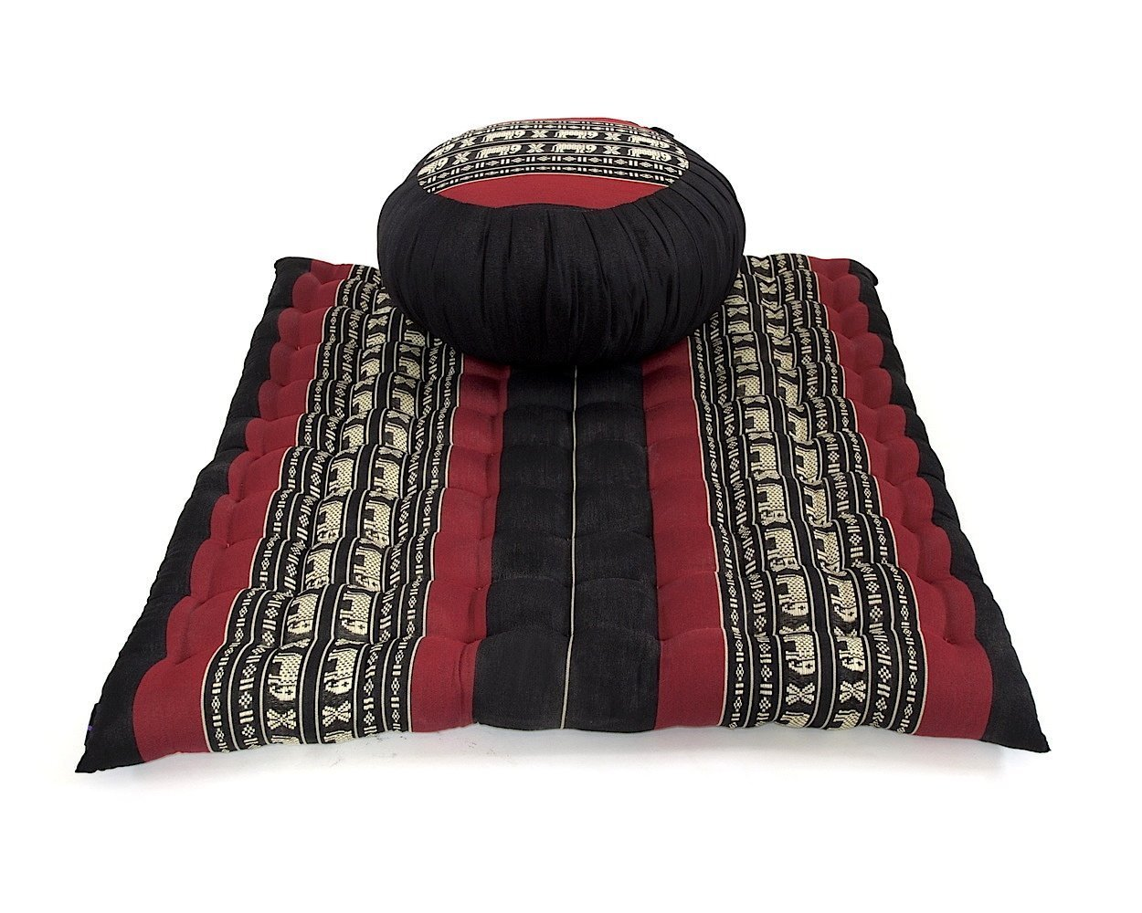Design by UnseenThailand Meditation Set: Zafu Cushion, Zabuton Mat, Kapok Fabric, 30x28x10 inches. (Black - Red) by UnseenThailand Warehouse