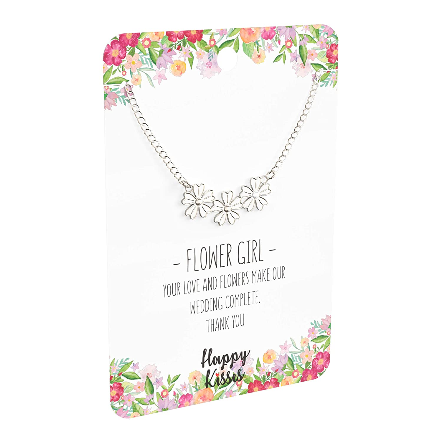 ba674141da7 Amazon.com: Happy Kisses Flower Girl Necklace - Your Love and Flowers Make  Our Wedding Complete. Thank You - Message Card (Silver): Jewelry