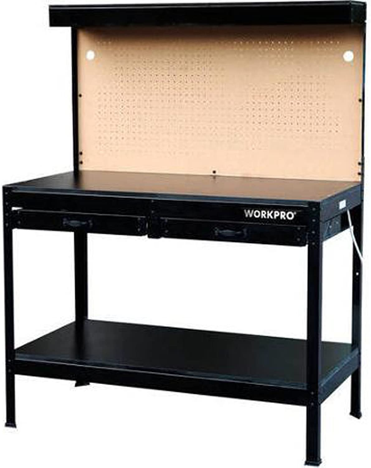 Workbench Garage Work Bench With Light Steel Tools Wood Table Home Workshop New