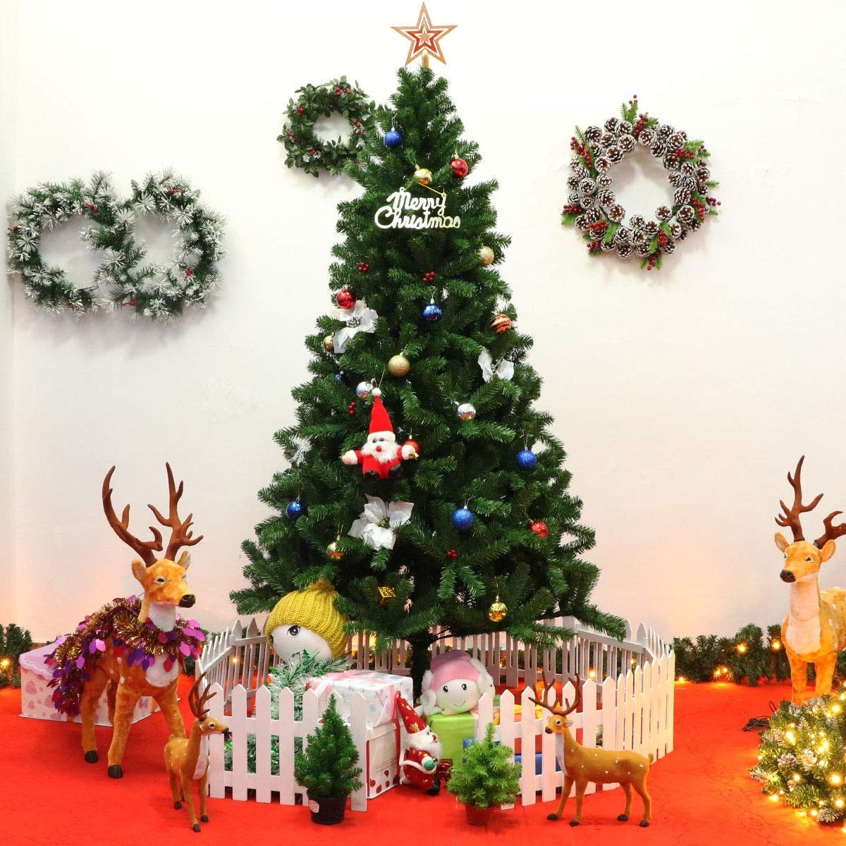 Artificial Christmas Tree Flocked Red Berries Pine Cones Branch ...