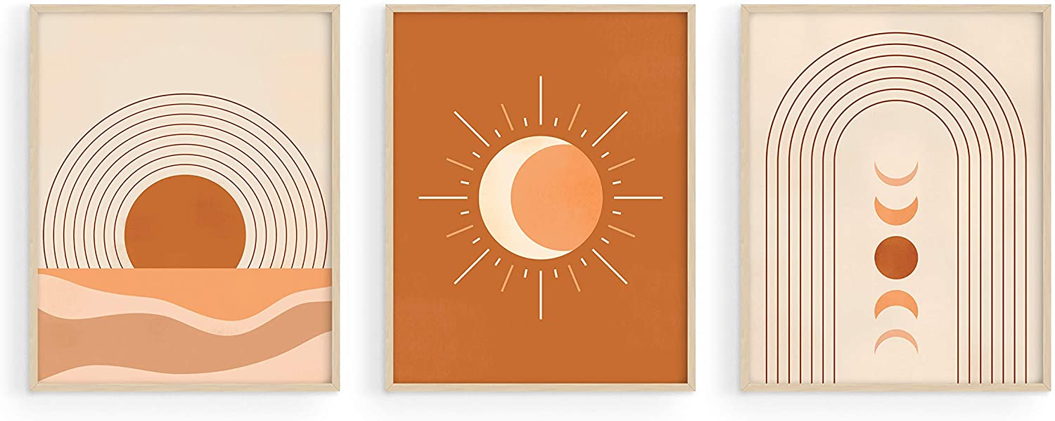 "Mid Century Wall Art and Terracotta Decor - by Haus and Hues | Set of 3 Mid Century Art Prints | Moon Wall Art | Boho Art Wall Decor | Mid Century Modern Wall Art | Geometric Decor (8""x10"", UNFRAMED)"