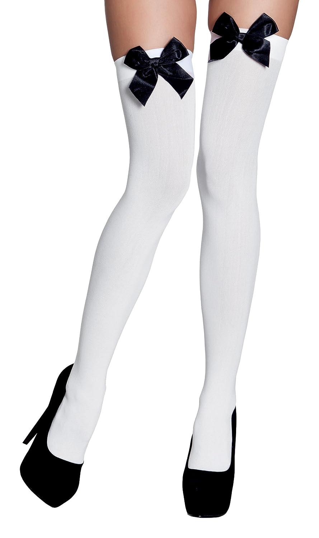 Boland- Calze Autoreggenti Bow con Fiocco per Adulti Taglia Unica 02271 Bianco//Nero