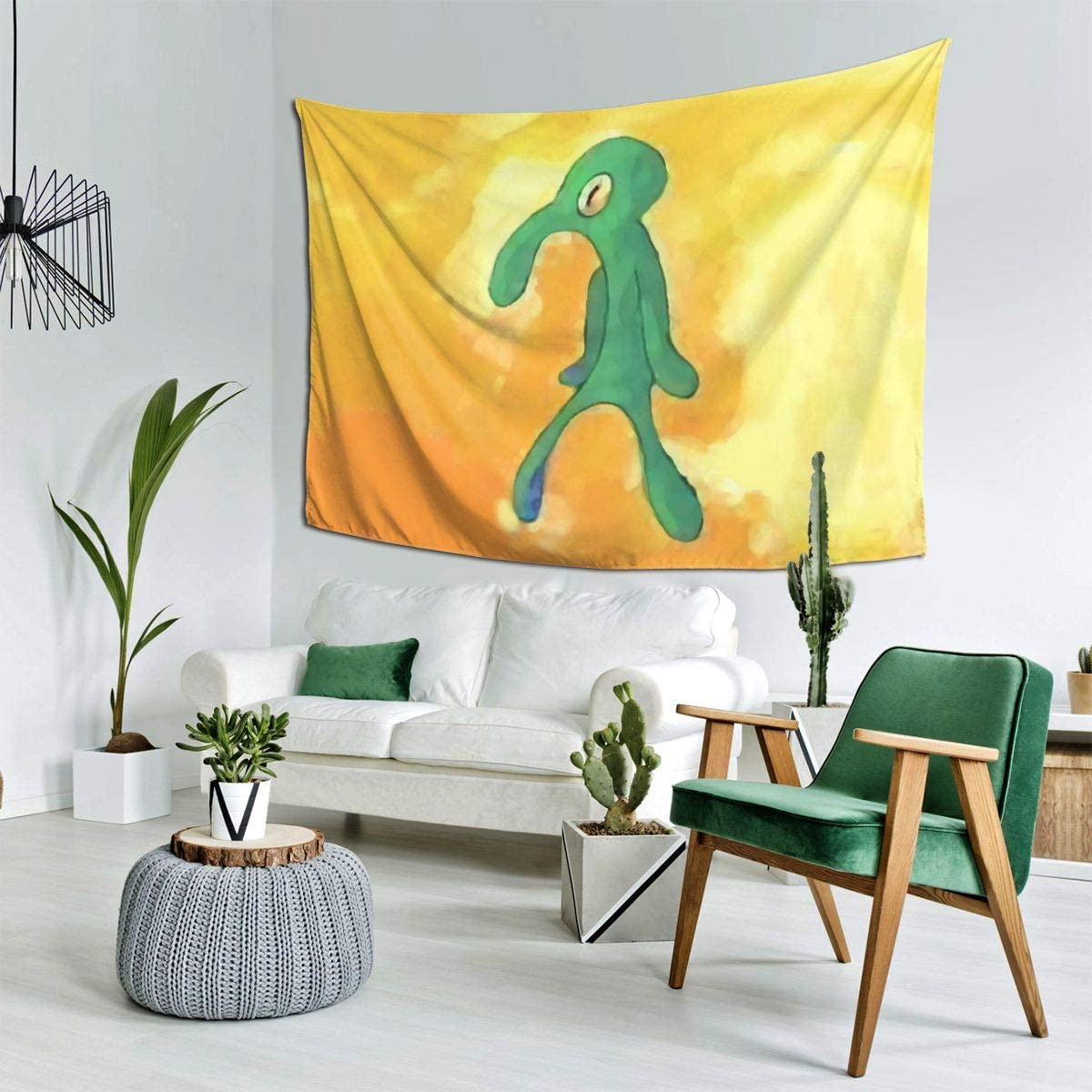 CARRYFUTURE Yellow Tapestry Squidward Abstract Art Tapestries Meme Cartoon Wall Hanging for Room Bedroom Home Decor (Yellow, 60x90)