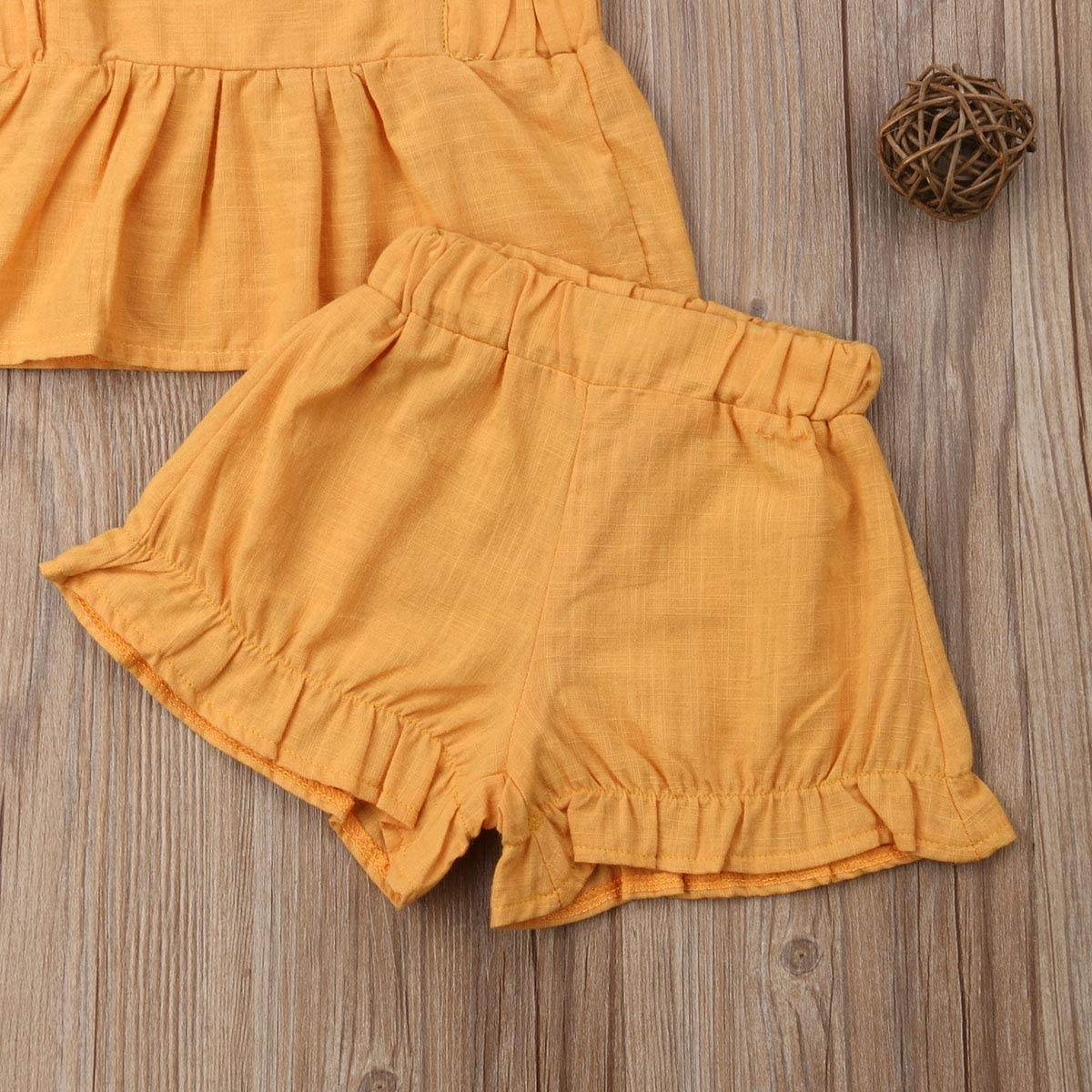 Summer Newborn Toddler Baby Girls Ruffle Outfit Sleeveless Back Cross Vest Top Shorts Sets Cotton Clothes