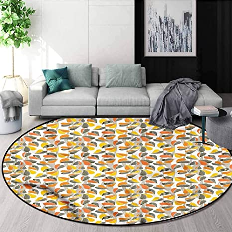 Rugsmat Grey And Yellow Non Slip Area Rug Pad Round Autumn Leaves Wavy Green Soft Area Rugs Round 55 Home Kitchen