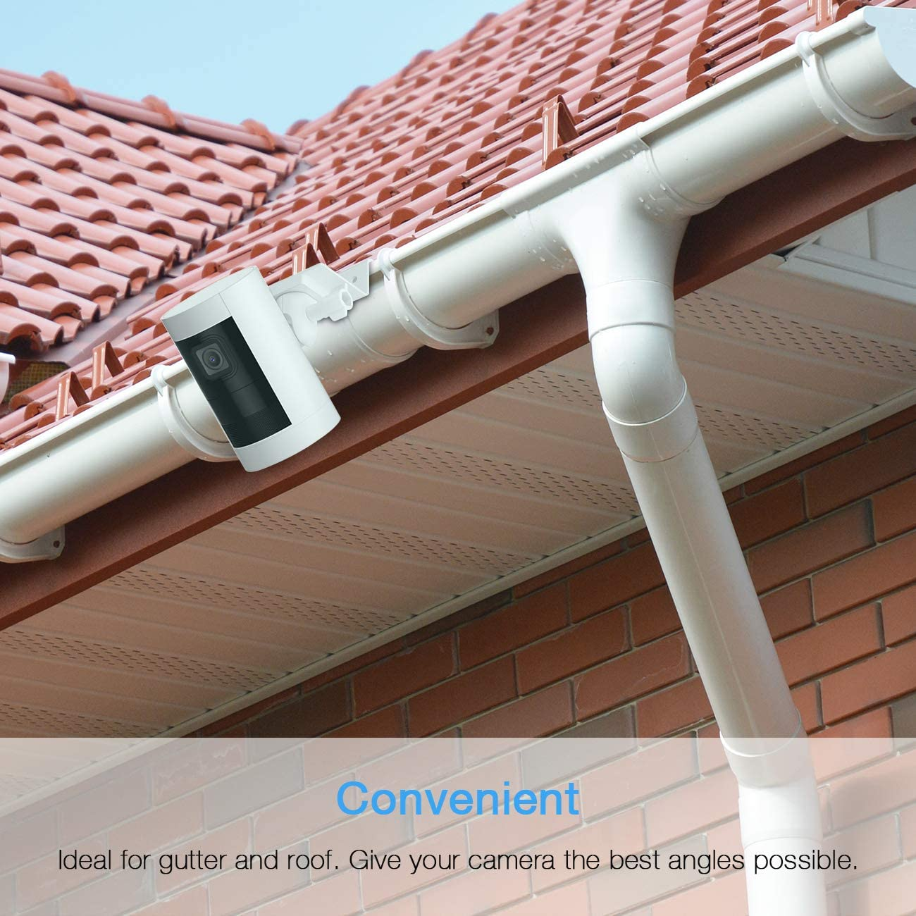 HOLACA Gutter Mount for Ring Stick Up Cam Plug-in HD Security Camera and Ring Stick Up Cam Battery HD Security Camera-Weatherproof-Give a Perfect Angle for Your Ring Stick Up Cam