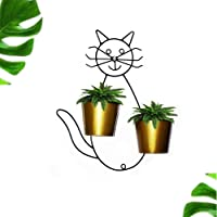 Ascent homes Cat Shape Wall Mount Stand with 2 Round Galvanized Pot