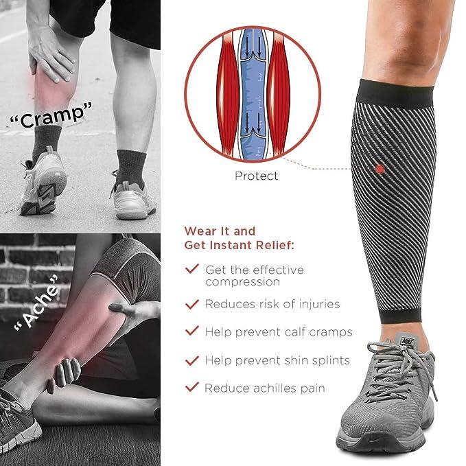 Merssyria Calf Compression Sleeves for Men - Footless Leg Support Sleeve  (20-30mm Hg) for Shin Splint, Leg Cramps, Calf Pain Relief, Running,  Nurses,
