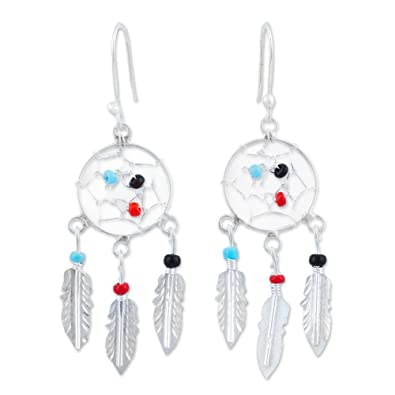 882e93e00 Image Unavailable. Image not available for. Color: NOVICA Glass Bead .925  Sterling Silver Dangle Earrings, Colorful Dreams'