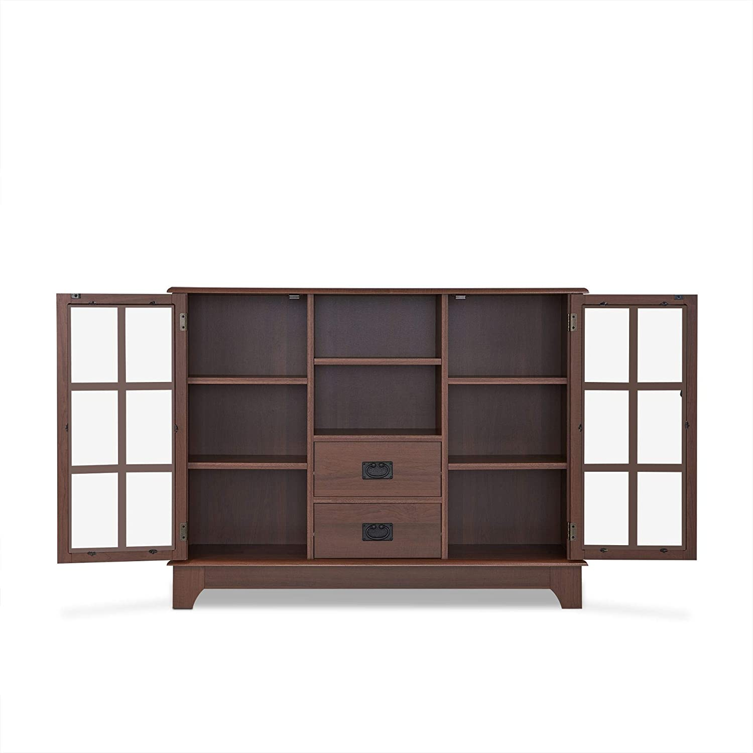 Espresso 42 L x 12 W x 32 H 2 Open Compartments /& 2 Glass Doors Knocbel Contemporary Console Table Buffet Sideboard Storage Cabinet with 2-Drawer