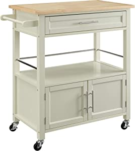 Linon Home Decor Products Marlow Kitchen Cart, Bone White with Wood Top