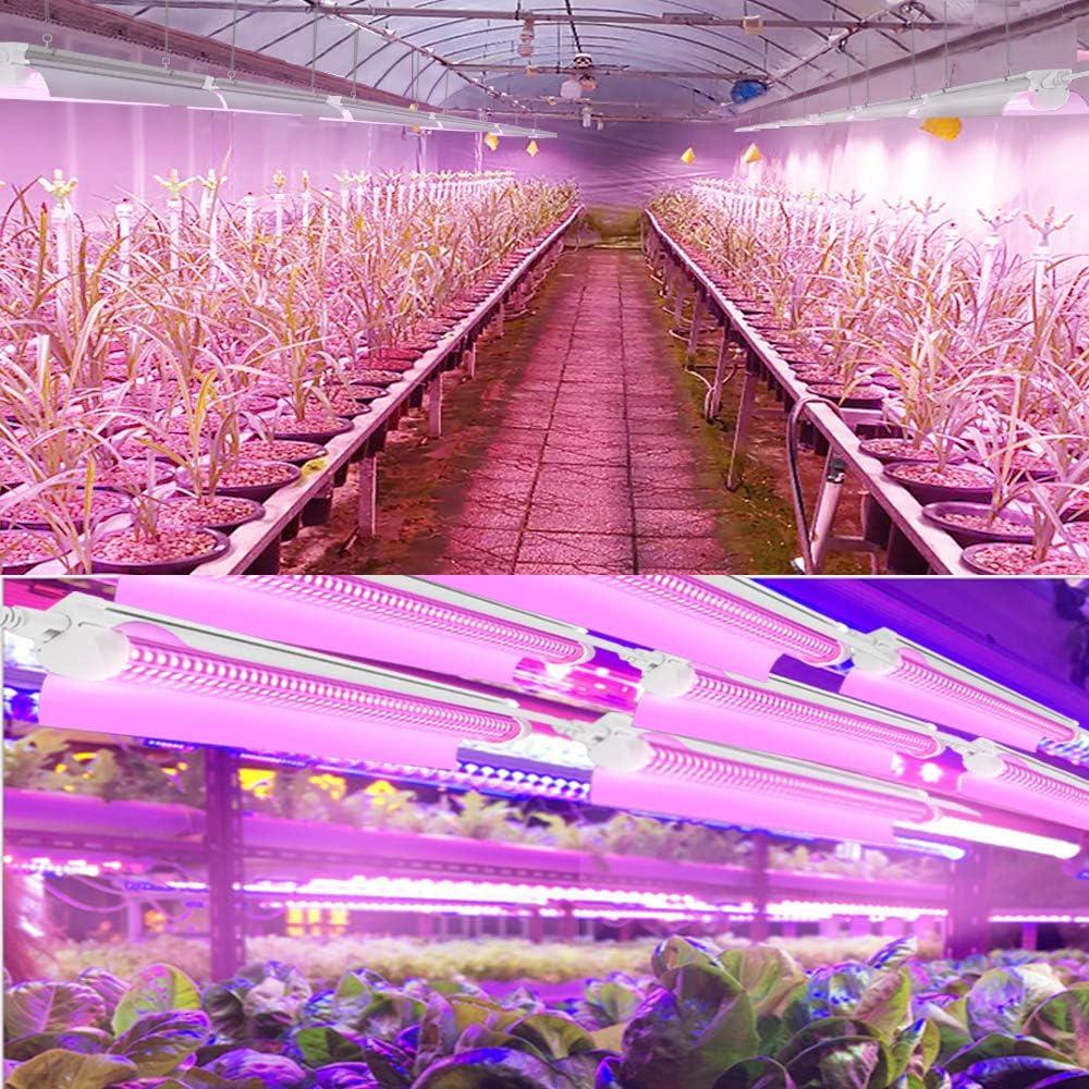 D-Shape Linkable Design JESLED 2FT LED Grow Lights 6 Pack 30W Full Spectrum Integrated 2 Foot Plant Lights Growing Lamp Fixtures for Greenhouse Indoor Plant Seedling Veg and Flower
