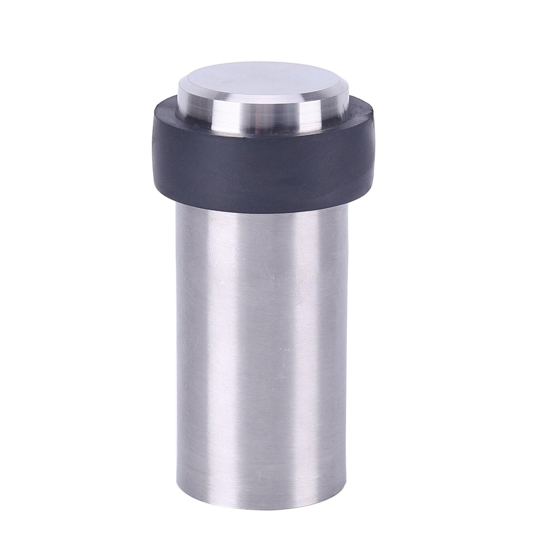 TPOHH Cylindrical Floor Mount Door Stop, Brushed Nickel 3-1/8'' Height