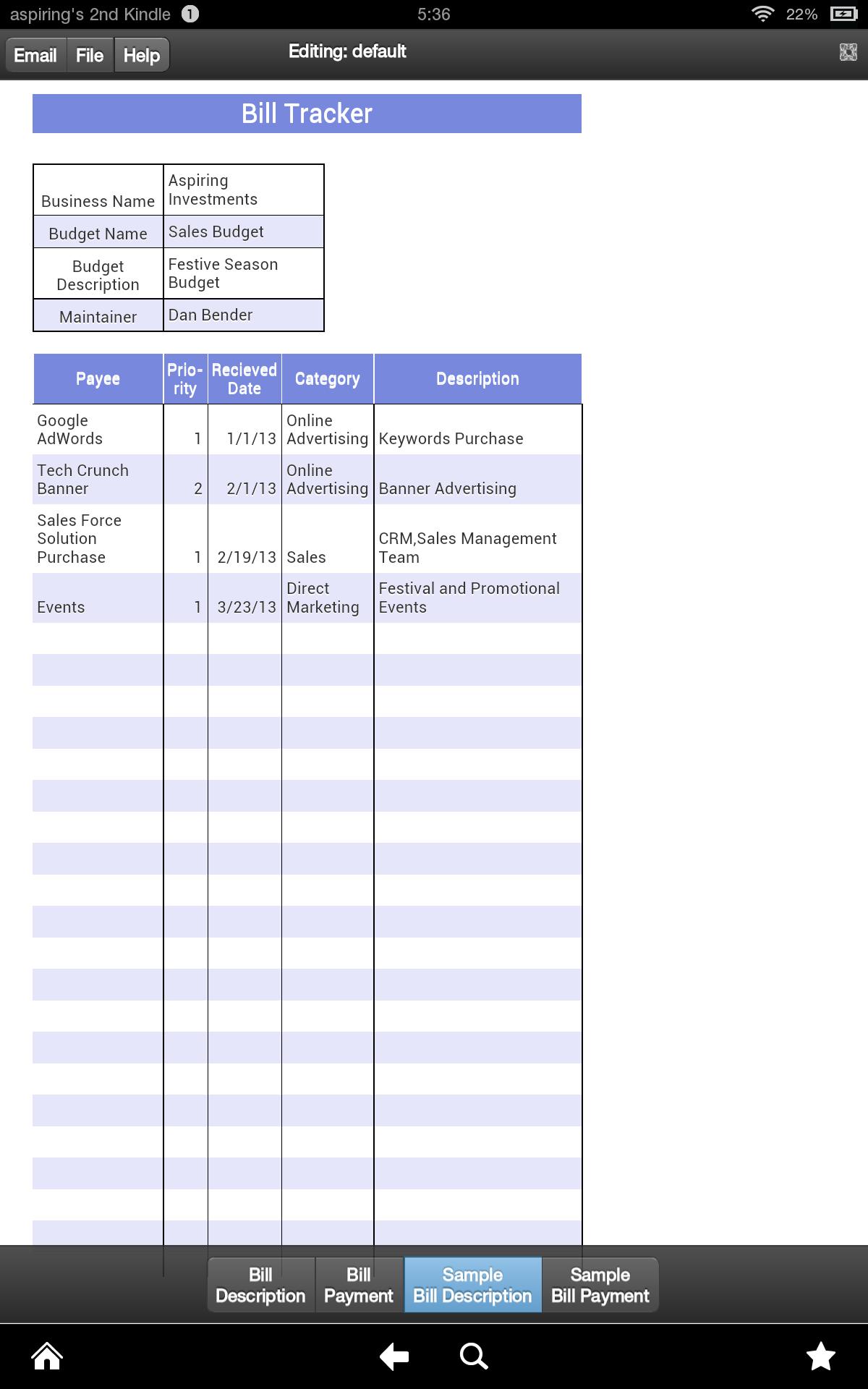 Amazon.com: Bill Tracker (Kindle Tablet Edition): Appstore