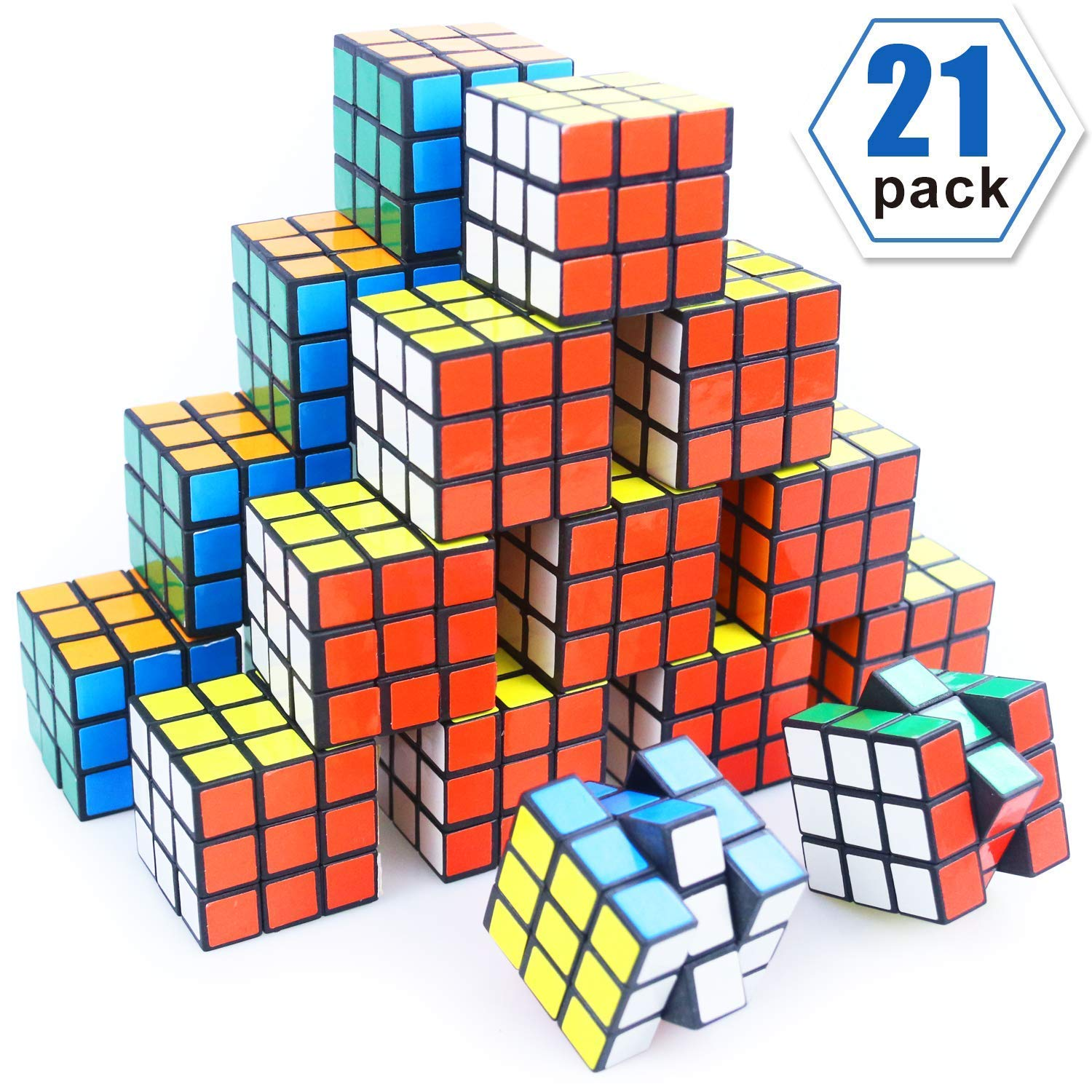 Mini Cube, Puzzle Party Toy, Eco-Friendly Material with Vivid Colors,Party Favor School Supplies Puzzle Game Set for Boy Girl Kid Child, Magic Cube Goody Bag Filler Birthday Gift, Pack of 21 by LOVIMAG